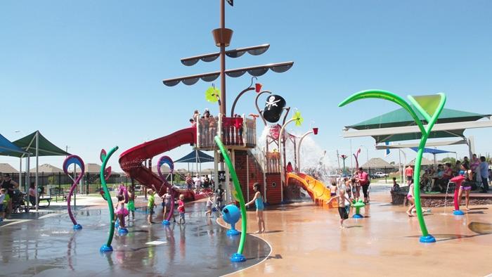 Parque de agua Splashpad de VORTEX en Moore, Oklahoma
